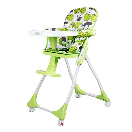Best Bargain Baby Highchairs Highchair With Trolley Brake Wheels Feeding 5-position Safety Harness S...