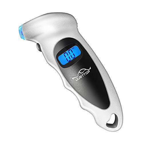 JUSTTOP デジタルタイヤ圧力ゲージ 150PSI 4段階設定 車 トラック 自転車 バックライト付きLCDと滑り止めグリップ 簡単で正確な読み取り (シルバー)