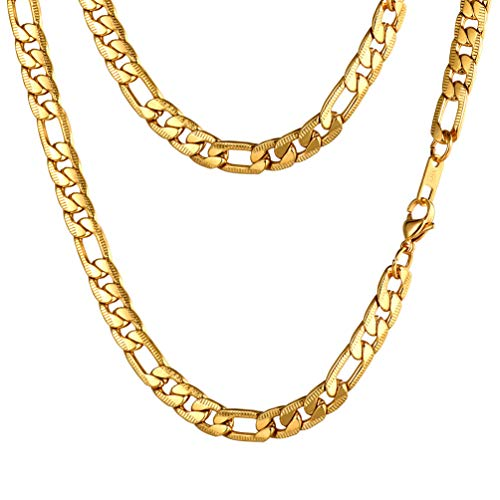 PROSTEEL Long Chain Necklace Men Jewelry Biker Chain Masculine Rap Miami 18K Real Gold Plated Mens Sturdy Figaro Link Chains