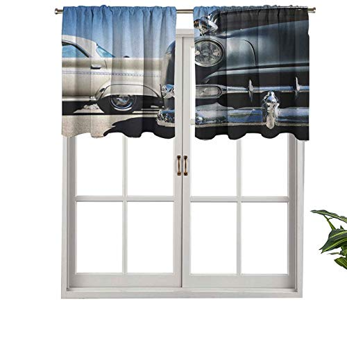 Modern Window Curtain Valance American Classic Old Style Fifties Auto Wheels Transportation History, Set of 2, 42'x36' Home Decorative Blackout Panels for Living Room