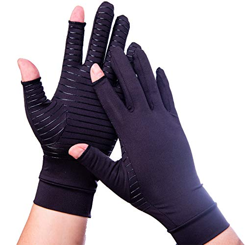 Compression Gloves Arthritis Gloves for Women Men Carpal Tunnel Gloves Relieve Arthritis Pain Fingerless Design Breathable Moisture Wicking Fabric Comfortable Fit l