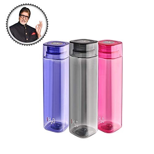 Cello H2O Squaremate Plastic Water Bottle (500 ml, Color May Vary) Set...