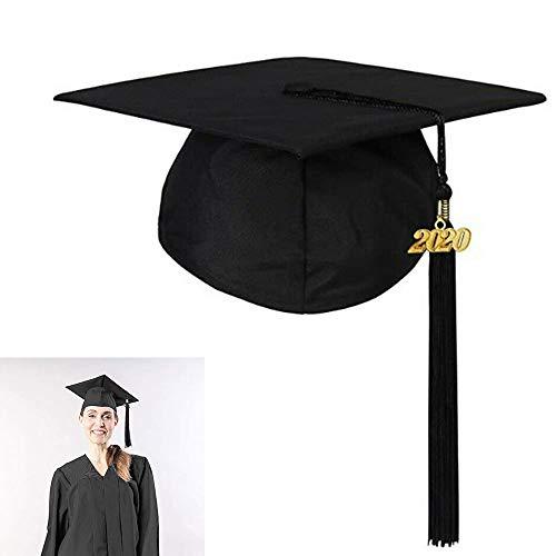 LXING Estudiantes Adultos Gorro De Graduación Sombrero Mate con Borla Ajustable Graduación Estudiantes Fotografía Sombreros 2020 Ceremonia De Graduación Cap Negro