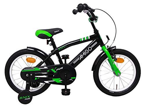 Amigo BMX Fun - Kinderfahrrad für Jungen - 16 Zoll - mit Handbremse, Rücktritt, Lenkerpolster und Stützräder - ab 4-6 Jahre - Schwarz/Grün