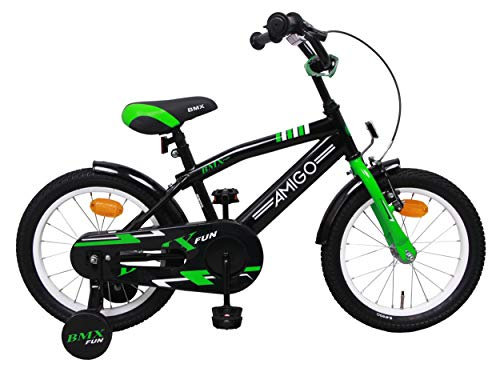 AMIGO BMX Fun - Kinderfahrrad - 16 Zoll - Jungen - mit Rücktritt und Stützräder - ab 4 Jahre - Schwarz/Grün