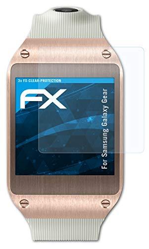 atFoliX Schutzfolie kompatibel mit Samsung Galaxy Gear Folie, ultraklare FX Bildschirmschutzfolie (3X)