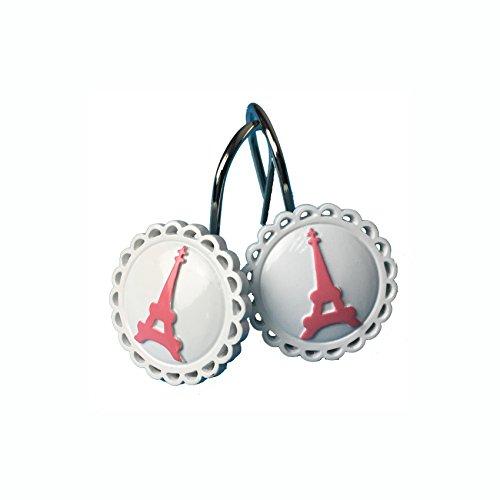 TGBack Paris Eiffel Tower Resin Shower Curtain Hooks Rings NO1 (Pink)