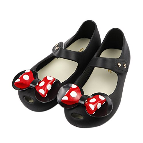 iFANS Girls Sweet Dot Bow Princess Sandals Shoes Mary Jane Flats for Toddler/Little Kid Black