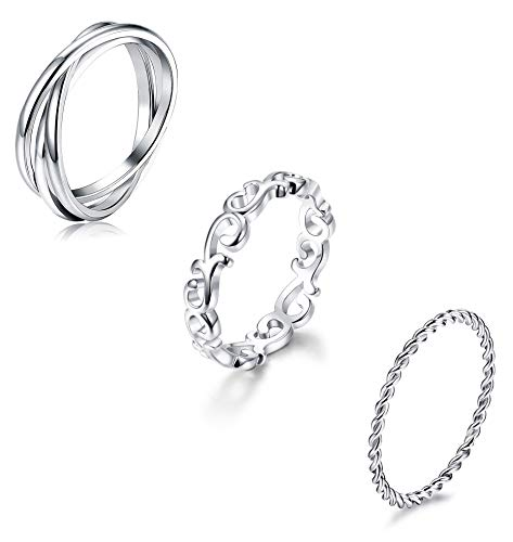 YADOCA 3 Pcs Stainless Steel Rings for Women Stackable Eternity Ring Celtic Knot Triple Band Rings Fit Size 4-12