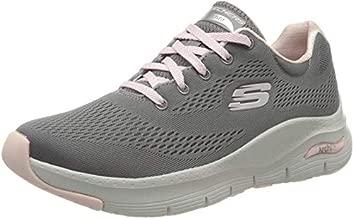 Skechers Women's Arch FIT-Sunny Outlook Sneaker, Grey/Pink, 7.5 M US