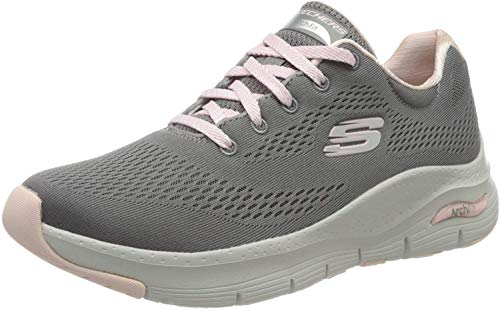Skechers Arch Fit, Zapatillas Mujer, Gris (Gray Knit Mesh/Pink Trim Gypk), 38 EU