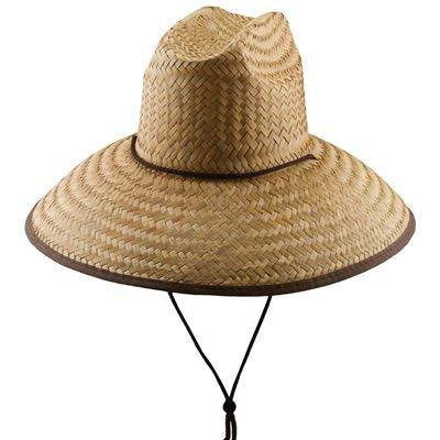 Panama Jack Lifeguard Sun Hat - Palm Fiber Straw, 5' Bound Big Brim, Chin Strap with Toggle, Logo Badge (Coco, One Size Fits Most)
