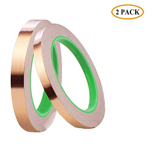 2 Pack Copper Foil Tape with Conductive Adhesive Sheet, (0.24/0.5inch) Double-Sided for Crafts Stained Glass EMI Shielding, Slug Repellent, Paper Circuits, Electrical Repairs, Grounding (21.9yards)