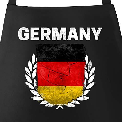 MoonWorks Grill-Schürze für Männer Fußball WM 2018 Deutschland Germany Flagge Vintage Baumwoll-Schürze Küchenschürze schwarz Unisize