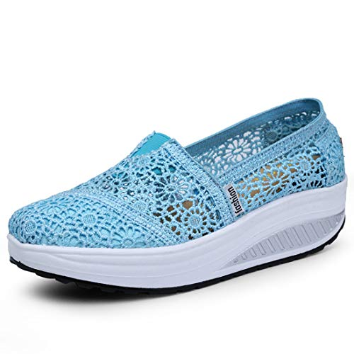 Zapatos Deporte Mujer Zapatillas Deportivas Moda Sandalias de Verano Mocasines de Plataforma Casuales Zapatillas de Lona para Mujer Cuña Azul Claro 37EU