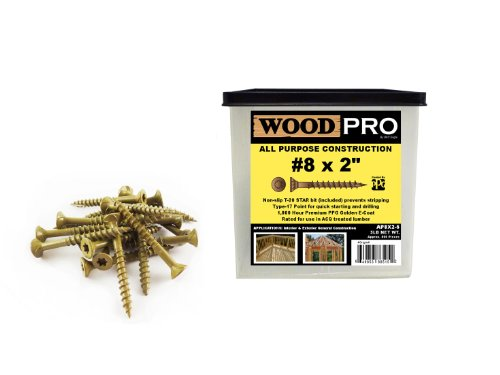 WoodPro Fasteners AP8X2-5 T20 5-Pound Net Weight 8 by 2-Inch All Purpose Wood Construction Screws, 800-Piece