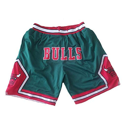 Pantalones cortos de baloncesto para hombres, malla bordada Chicago Bulls con bolsillo para cordón Pantalones cortos deportivos Ventiladores La ropa deportiva suelta se puede lavar repetidamente M
