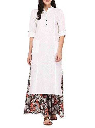Ladyline Women's Pure Cotton Plain Tunic Top 3/4 Sleeves Roll-UP Button Neck With Pocket Long Kurti Kurta,White,Chest: Body-34-35, Garment-38