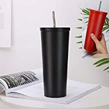 YMYN AYD Stainless Steel Straw Cup Outdoor Coffee Cup Leisure Sports Cup, Capacity:500ml (Color : Black)