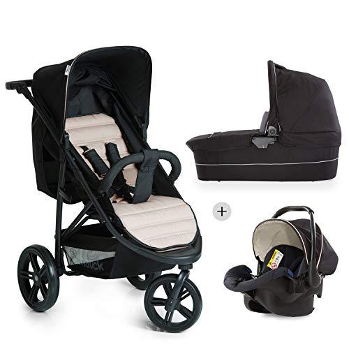Hauck Kombi Kinderwagen Rapid 3 Plus Trio Set / für Babys ab Geburt / Wanne inkl. Matratze / Reise System mit Autositz / Liegeposition / Schnell Faltbar / Höhenverstellbar / Bis 25 kg / Schwarz Beige