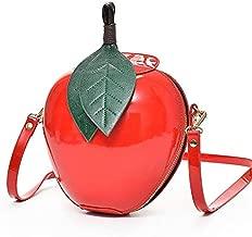 Women's Fashion Apple Shape Handbag Hosamtel Ladies Zipper Shoulder Bag Messenger Bag (Red)
