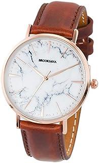 [ブルッキアーナ]BROOKIANA メンズ レディース マーブル 大理石 36mm ローズゴールドケース ブラウン レザー BA3101-RSWLBR 腕時計 [並行輸入品]
