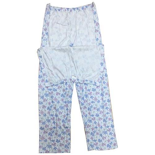 [pkpohs] 介護パジャマ ズボンだけ マジックテープ レディース 介護 ねまき 日本製 (ブルー系, L)