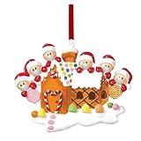 Hunpta Six Santa Families 2020 - Adornos colgantes de resina navideña, diseño de árbol de Navidad con lazo