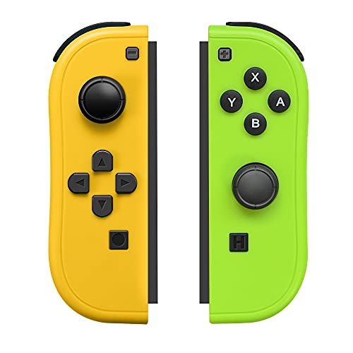 Joy-Pad Controller Compatible with Switch,Left and Right Controllers with Grip Support Wake-up Function(Orange and Green)