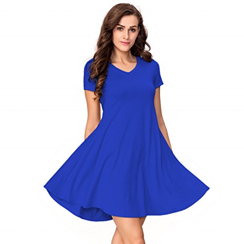 One Sight Women's T-shirt Dress with Pockets V Neck Short Sleeve Loose Swing Dress