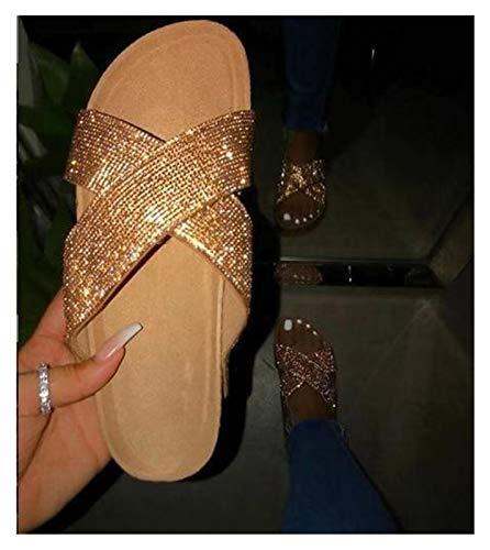 Youpin Sandalias de verano sexy con diamantes de imitación europeos y americanos para mujer (color: dorado, talla de zapato: 42)