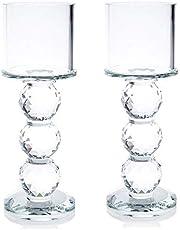 London Boutique Juego de 2 portavelas cilíndrico de Cristal Transparente con Elementos de Cristal Swarovski de 20 cm