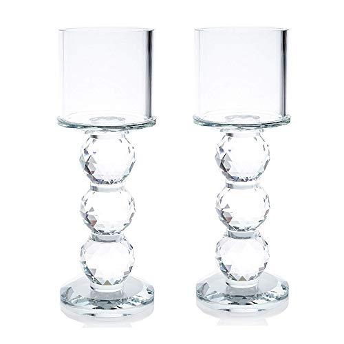 London Boutique Set 2 Decorative Gift Present Crystal Clear Cylinder Candle Holder 20cm