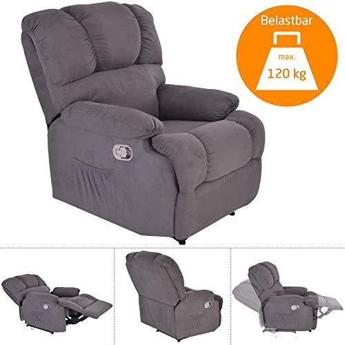 MACOShopde by MACO Möbel TV-Sessel Henry - mechanischer Schlafsessel mit Liege- und Relaxfunktion, Mikrofaser-Stoff Velour, GRAU