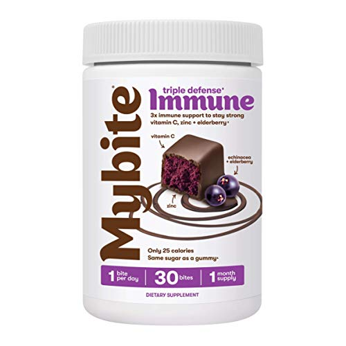 Mybite Immune Chocolate Supplement, 30 Bites, Vitamin C, Zinc, and Echinacea to Support a Strong Immune System