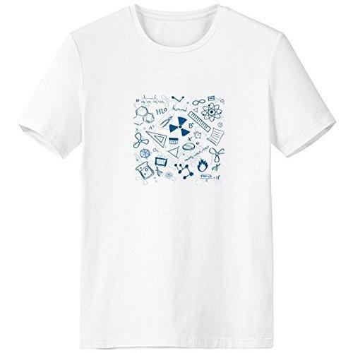 DIYthinker Azul Pintado a Mano Trazos Simples Estilo química física símbolo Escote de la Camiseta Blanca Primavera y el Verano de Tagless la Comodidad del algodón se Divierte Las Camisetas Regalo