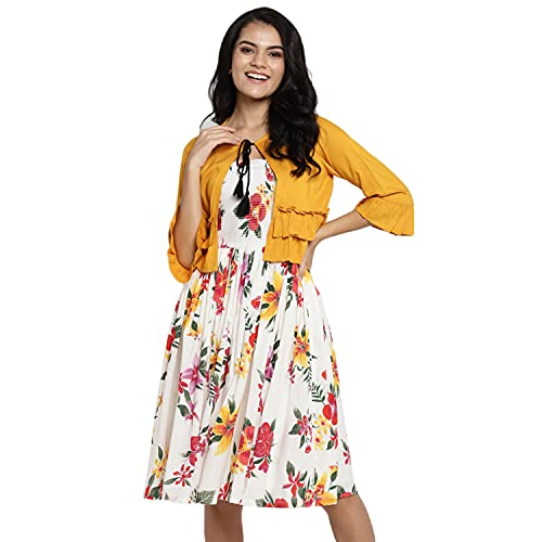 DEEBACO Women' s Fit and Flare Midi/Knee Length Cotton Dress...