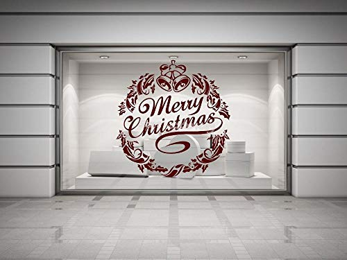 Cooldeerydm Kerstkrans met hulst en bel muur Sticker Vinyl Applique Shop raamspiegel glas deur Sticker Ea782