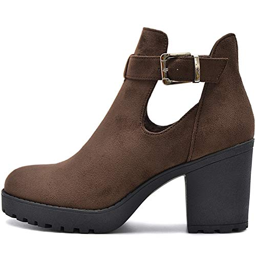 SALIN Shoes© Plateau Boots Stiefeletten in Cut Out Style (Braun Samt, Numeric_39)