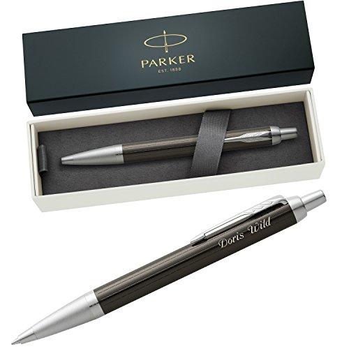 PARKER Kugelschreiber IM PREMIUM Dark Espresso Chiselled C.C. 1931683 mit persönlicher Laser-Gravur