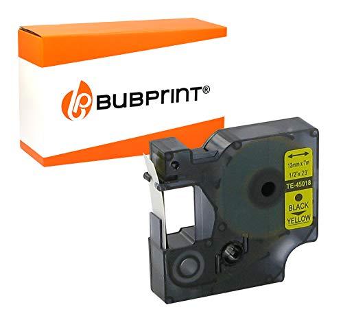 Bubprint Schriftband Kassette kompatibel für Dymo 45018 S0720580 Labelpoint Labelmanager 150 100 210D 280 160 450 120P 220P 260P 300 350 360D 400 420P 500TS Etikettenband D1 12mm x 7m schwarz auf gelb
