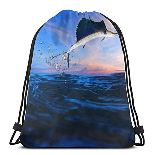 AllenPrint Kordelzug Tragetasche,Sailfish Flying Drawstring Rucksack Tasche, Attraktive Cinch Taschen Für Sporting Hiking Athletic,36x43cm