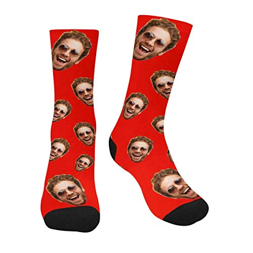 Personalized Socks with Face Man Faces on Red Print Photo Socks With Face