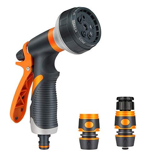 Pistola de Riego, Pistola de agua de jardín,con 8 modos de ajustable pulverización,Pistola de Manguera Alta Presión,para riego de jardín,lavado de coches,baño de mascotas,limpieza de aceras