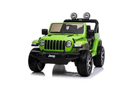 """Auto Macchina Elettrica per Bambini Jeep Fiat Wrangler Rubicon 12V Sedile in Pelle Monitor 4"""" Touch Screen Mp3 Mp4 Luci e Suoni (Verde)"""