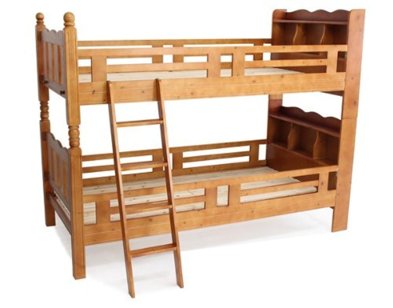 叱る必要性発揮する宮付き二段ベッド 二段ベッド 2段ベッド シングルベッド すのこベッド 木製 二段 ベット 2段ベット ブラウン