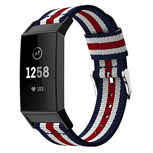 Nylon Trenzado Correa de Reloj Compatible con Fitbit Charge 4 / Charge 4 SE/Charge 3 SE/Charge 3, Clásicos exquisitos Pulseras de la Correa de los Hombres (Pattern 2)