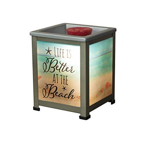 Elanze Designs Life Better at Beach Seashore Silvertone Metal Electrical Wax Tart & Oil Glass Lantern Warmer