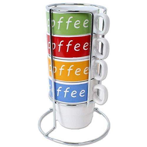 4 Tassen Set Tower Cafe Latte Design Tassen Keramik im Metall Ständer verchromt