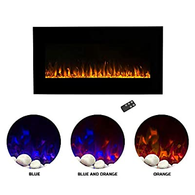 "Northwest Electric Fireplace Wall Mounted LED Fire and Ice Flame, with Remote, 42"", Black"